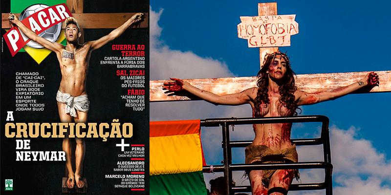 Neymar e Beleboni crucificados