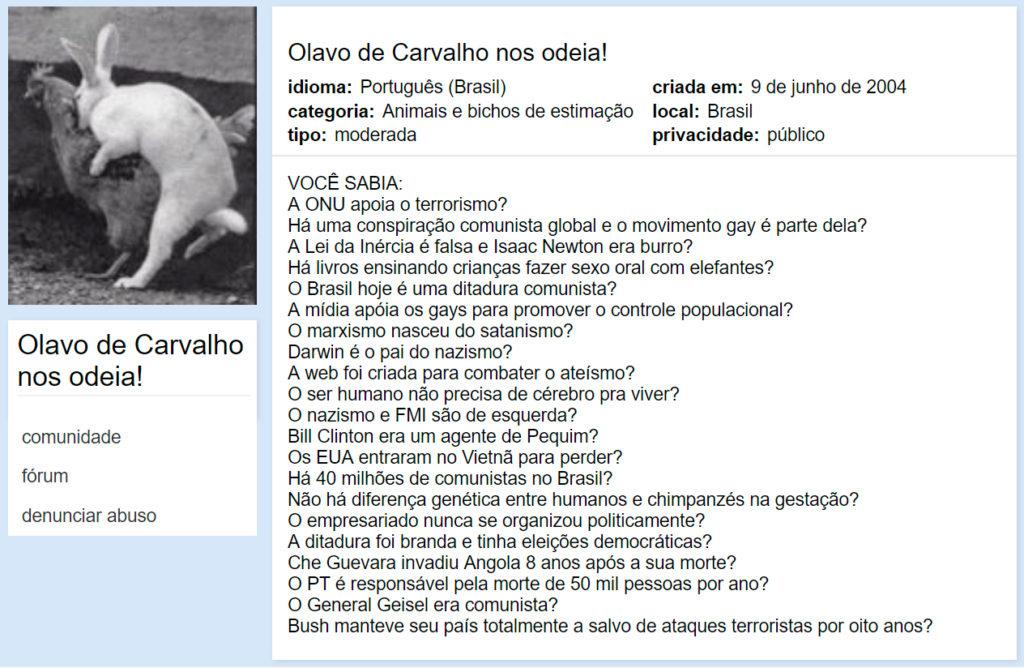 Comunidade do Orkut Olavo de Carvalho nos Odeia
