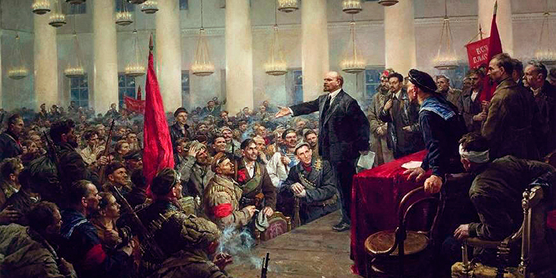 Valentin Serov – Lenin Proclaims the Victory of the Revolution (08 November, 1917)