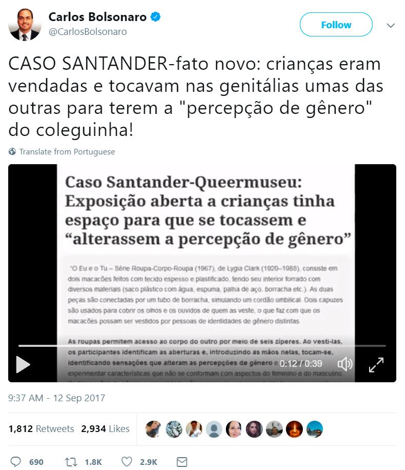Carlos Bolsonaro difamação